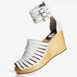 Swedish Hasbeen White Wood Heel Leather Sandals